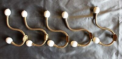 Set of Five French Fire Gilded Cast Brass and Porcelain Coat Hooks c. 1885