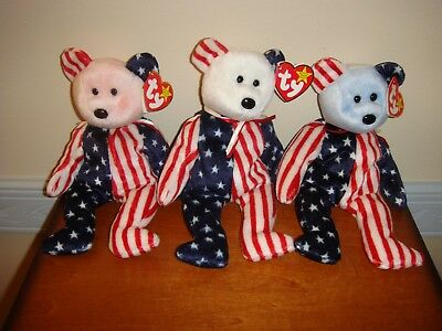 Ty Beanie Babies 3 Spangle Patriotic Bears Pink White & Blue Faces