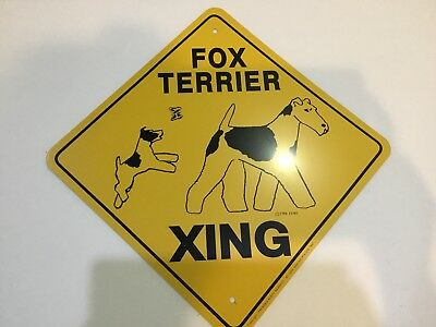 Fox Terrier Dog Crossing Xing Sign, Wire Fox Terrier
