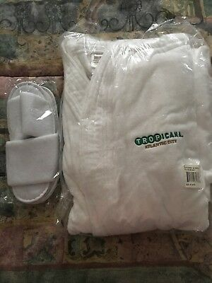 Tropicana Monarch Cypress luxury terry robe with white terry slippers One Size