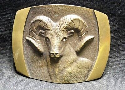Vintage  Rare 1978 S.L. Knight Solid Brass Big Horn Ram Goat Head Belt Buckle