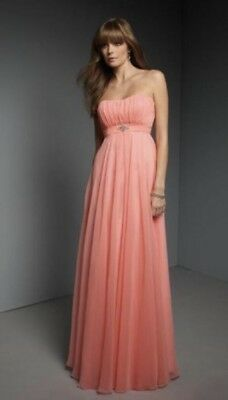 Chiffon Dress Ball Gown Bridesmaid Coral Pink Size 10-12 Lace up