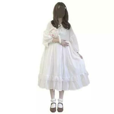 Puff 3/4 Sleeve Embroidery Doll Collar Under Knee Black Lolita Dress S For Women