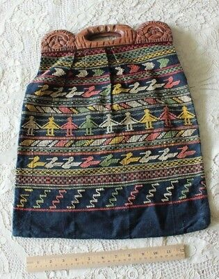 Vintage Ethnic Mexican/Indigo Cotton South American Hand Embroidered Purse c1930
