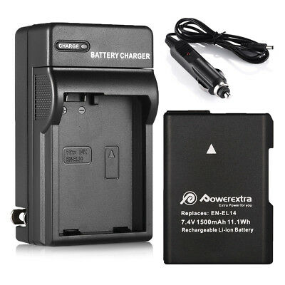 1200mAh EN-EL14 EN-EL14A Battery + Charger for Nikon D5600 D5300 D5200 D3400