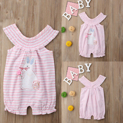 Newborn Kids Baby Girl Bunny Bubble Romper Jumpsuit Outfits Summer Clothes
