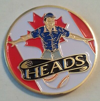 Canadian Red and White with Red Maple Leaf Baseball Umpire Flip Coin