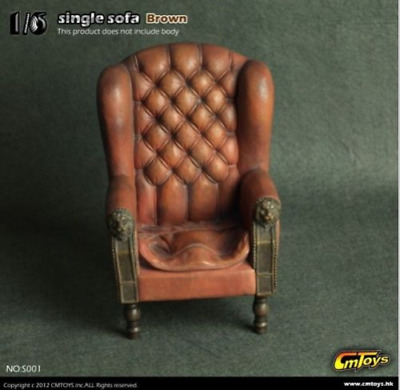"CMToys 1:6 Scale Brown Single Sofa Chair Model Furniture Toy F 12"" Action Figure"