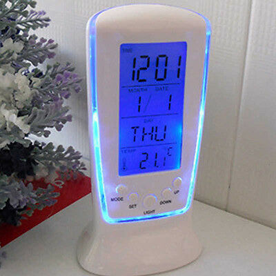 GN- LED Digital Alarm Clock with Blue Backlight Electronic Calendar Thermometer