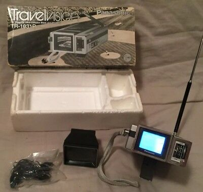 "WORKING! Vintage 1985 Panasonic Japan Travelvision TR-1031P 1.5"" TV Original Box"