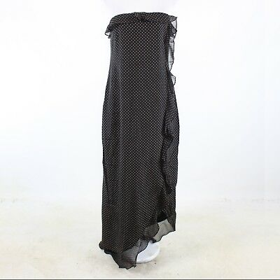 6fe62e351f9e Black brown polka dot 100% silk LAUREN RALPH LAUREN strapless maxi dress 10