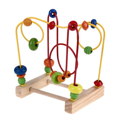 Counting Circle Bead Abacus Wire Maze Roller Math Toy Coaster Wooden Educational