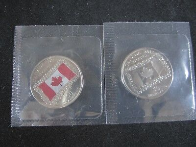 25 Cents PL 50th Anni Canadian Flag Canada (2 coins) Color and Non Coloured RCM