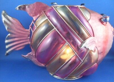 Retro Collectable Handcrafted METAL & PAINTED GLASS FISH TEALIGHT CANDLE HOLDER