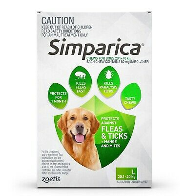 Simparica Flea & Tick Tablets for Dogs 20.1 – 40kgs - 6 Pack + BONUS 2 Singles