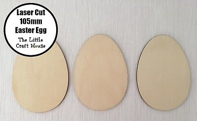 3 x 105mm Wooden Easter Egg Laser Cut Shape Ply Blank Craft Wood Eggs Shapes