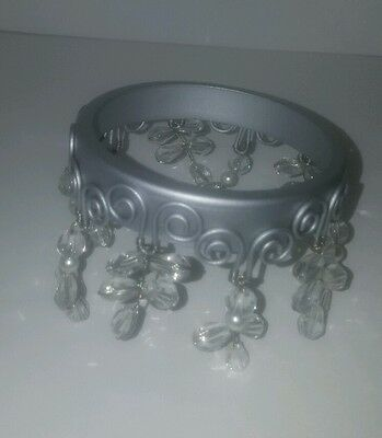 Partylite ~DAZZLE CANDLE RING~ Iridescent Beaded Metal Candle Ring