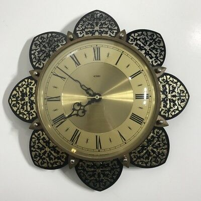 Retro 1960S Starburst Metamec Electric Wall Clock England - 25Cm - Works