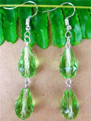 1Pair Light Green Crystal Glass Teardrop Pendant Earrings 15*10mm/60mm DZ341
