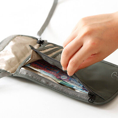 Travel Neck Pouch Passport Cards Holder RFID Blocking Neck Wallet Hidden Wallets