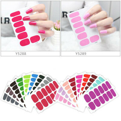 1 Sheet Polish Nail Art Decals Manicure Stickers Self Adhesive Wraps 18 Colors