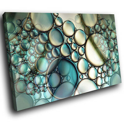 ZAB937 Blue Teal White Cool Modern Canvas Abstract Home Wall Art Picture Prints