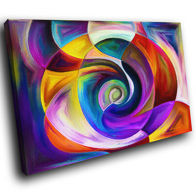 ZAB1403 Colourful Retro Cool Modern Canvas Abstract Wall Art Picture Prints