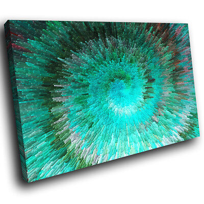 ZAB1419 Green Teal Cool Funky Modern Canvas Abstract Wall Art Picture Print