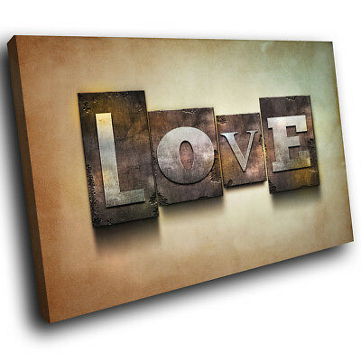ZAB1134 Brown Love Modern Retro Canvas Abstract Home Wall Art Picture Prints