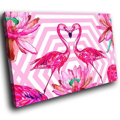 ZAB1490 Retro Pink Flamingo Modern Canvas Abstract Home Wall Art Picture Prints