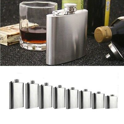2-18 oz Stainless Steel Pocket Hip Flask Alcohol Whiskey Liquor Screw Cap&Funnel