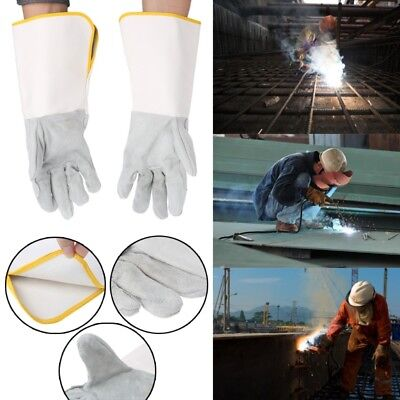 Welding Gloves Heatproof Fireproof Leather Tig Welders Gauntlet  Working Safety