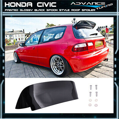 92-95 Honda Civic EG Spoon Style 3Dr Hatch Roof Spoiler Painted Glossy Black ABS