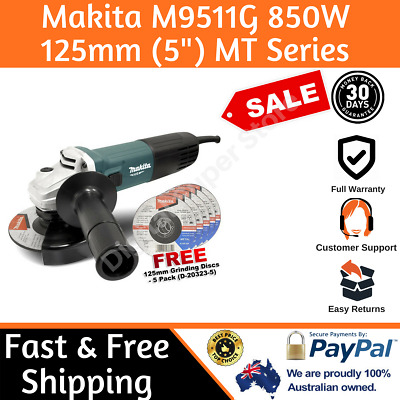 "Makita Angle Grinder 850W 125mm (5"") MT Series Power Corded New Grinding M9511G"