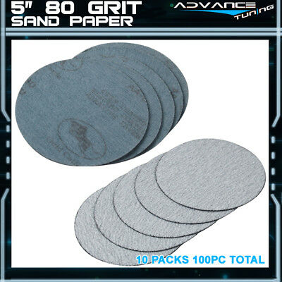 100PC 5Inch 127mm 80 Grit Auto Sanding Disc No Hole Sandpaper Sheets Sand Paper