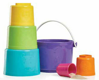 Tupperware Kids 6-Piece Tote-Em Pails Toy Set Purple, Blue, Green, Pink New Rare