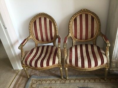 Pair Of Antique French Boudoir Arm Chairs Vintage T L C Re Upholstery Project