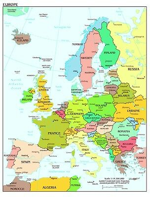 Map of Europe Wall Art Large Poster Print - A0 A1 A2 A3 A4