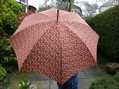 Mens umbrella Alfred Dunhill pipe design RED nwt