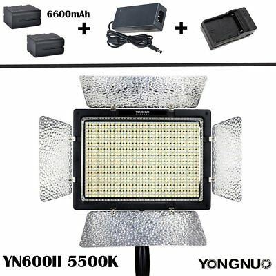 YONGNUO YN-600 II 5500K LED Video Light Lamp + NP-F750 Battery + AC Adapter US