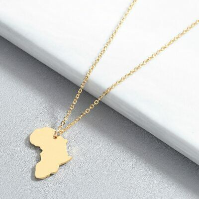 Gold/Silver Africa Map Heart Pendant Necklace Chain for Women + Gift Bag+Pouch