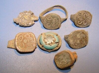 Ancient bronze fragments of rings Middle Ages original