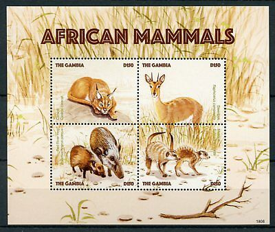 Gambia 2018 MNH African Mammals Caracal Meerkats 4v M/S Wild Animals Stamps