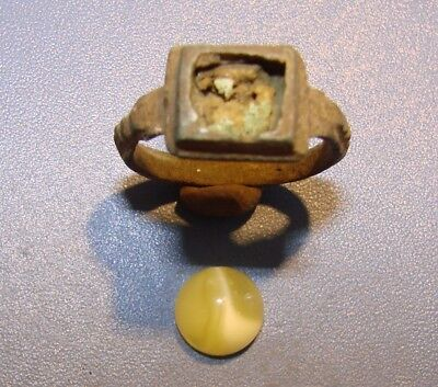 Ancient bronze  ring  Middle Ages. Оriginal. *STONE NATURAL AMBER*