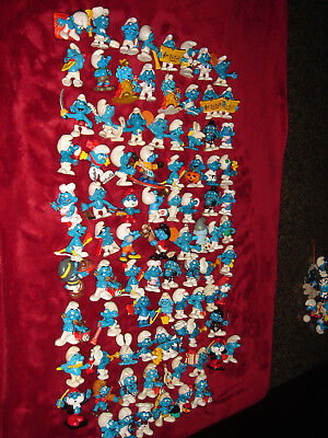 Smurf Collection Smurfs Vintage Lot Of 86 Assorted Pre Owned Figures Some Rare