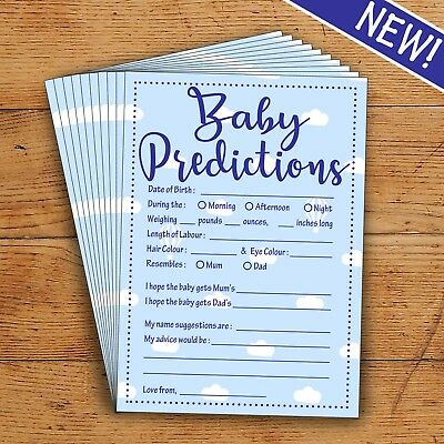 Baby Predictions - Blue/Boy- 10 Players - Perfect Baby Shower Party Game!