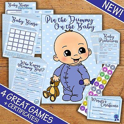 Baby Shower Game Multipack - Blue Boy- 20 Players - Four Party Games!