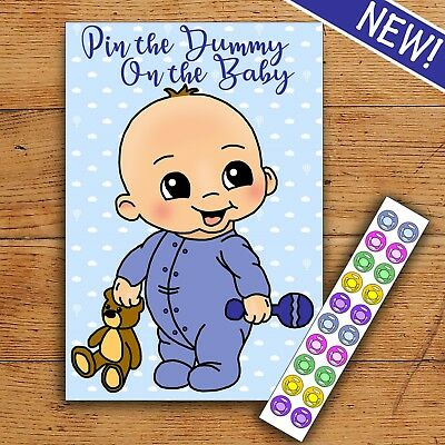 Pin the Dummy on the Baby - Blue/Boy- 20 Players - Baby Shower Party Game!