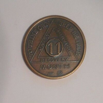 aa bronze alcoholics anonymous 11 month sobriety chip coin token medallion