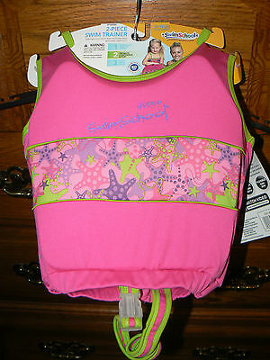 Girl's Two Piece Swim Trainer--Vest With Swimsuit--Fits 33-55 Lbs--Nwt!